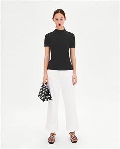 RIBBED T-SHIRT WITH LACE TRIM