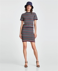 SHORT TOP WITH MULTICOLOURED STRIPES