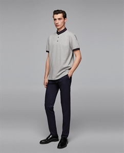 CONTRASTING POLO SHIRT WITH STAND-UP COLLAR