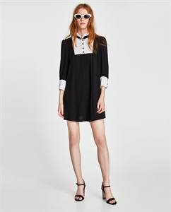 DRESS WITH CONTRASTING BIB FRONT