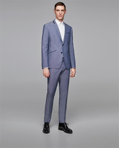 TEXTURED WEAVE SUIT TROUSERS WITH PIPING