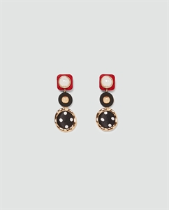 FAUX PEARL EARRINGS WITH POLKA DOTS