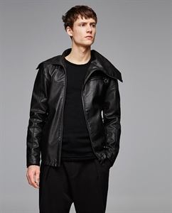 FAUX LEATHER JACKET WITH FUNNEL COLLAR