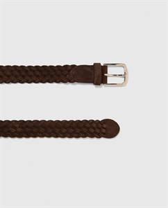 PLAITED SPLIT SUEDE BELT
