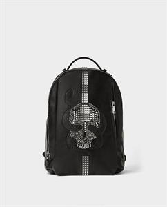 BLACK BACKPACK WITH STUDDED SKULL