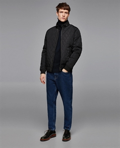 QUILTED BOMBER JACKET WITH CONTRASTING PIPING