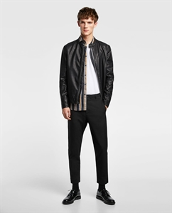 EMBOSSED FAUX LEATHER JACKET