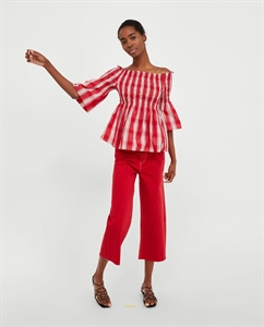 SMOCKED CHECKED BLOUSE