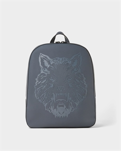 BLUE BACKPACK WITH RAISED ANIMAL DESIGN