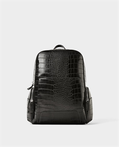 BLACK REPTILE-EFFECT EMBOSSED BACKPACK