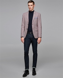 HOUNDSTOOTH BLAZER WITH ELBOW PATCHES