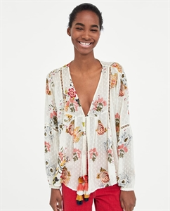 EMBROIDERED DOTTED MESH CARDIGAN