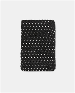 PLEATED SCARF WITH WHITE POLKA DOTS