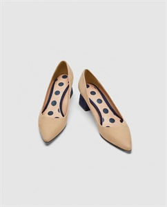 LEATHER MID-HEEL COURT SHOES