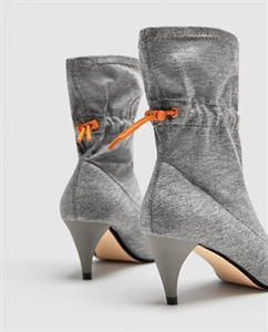 FABRIC HIGH HEEL ANKLE BOOTS