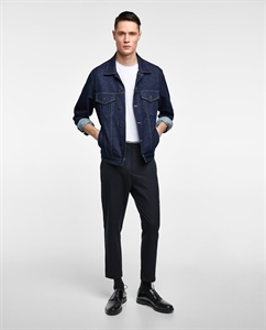 TROUSERS WITH CONTRASTING RIBBED DETAIL