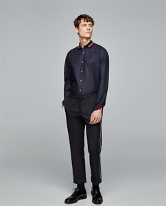 SHIRT WITH CONTRASTING RIBBED TRIMS