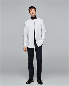 SHIRT WITH RIBBED STAND-UP COLLAR