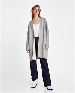COAT WITH PIPING