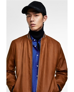 FAUX LEATHER BOMBER JACKET WITH RIBBED TRIMS