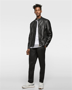 MICRO-PERFORATED FAUX LEATHER JACKET