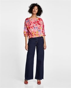 FLORAL PRINT BLOUSE WITH ELASTIC CUFFS