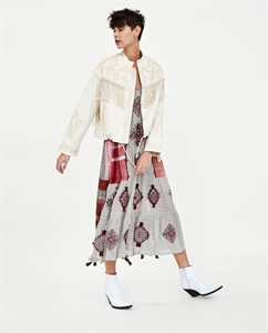 EMBROIDERED JACKET WITH FRINGING