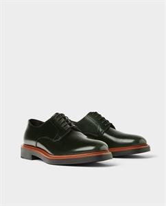 BOTTLE GREEN LEATHER DERBY SHOES