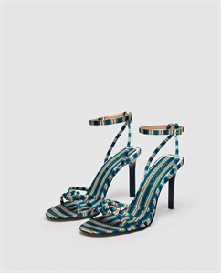 HIGH-HEEL SANDALS WITH CONTRASTING STRAP