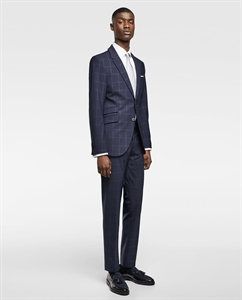 WINDOWPANE CHECKED SUIT TROUSERS