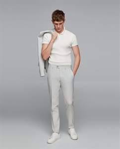 GREY TEXTURED WEAVE SUIT TROUSERS