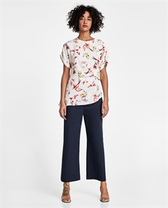 BIRD PRINT BLOUSE WITH DRAPED DETAIL