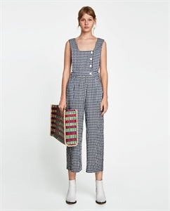 GINGHAM CHECKED JUMPSUIT