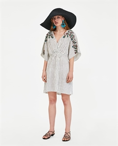 STRIPED AND EMBROIDERED LINEN DRESS
