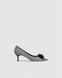 CHECKED FABRIC HIGH HEEL COURT SHOES