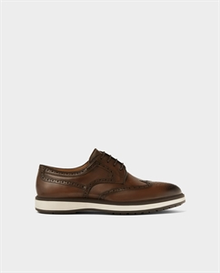 BROWN LEATHER BROGUES WITH FLATFORM SOLES