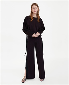 PINSTRIPED TROUSERS WITH CONTRASTING SIDE STRIPES