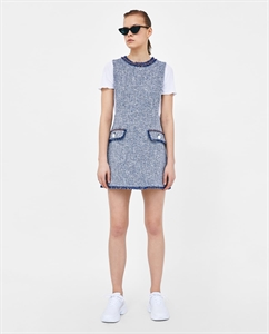TEXTURED WEAVE DRESS WITH BUTTONS