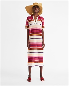 STRIPED DRESS WITH POLO COLLAR