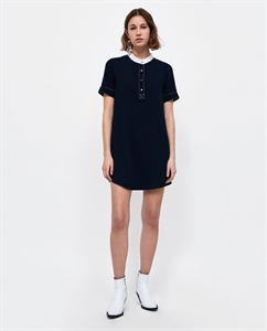 DRESS WITH TOPSTITCHING AND HENLEY PLACKET