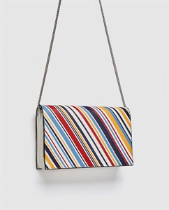 STRIPED PRINT CROSSBODY BAG