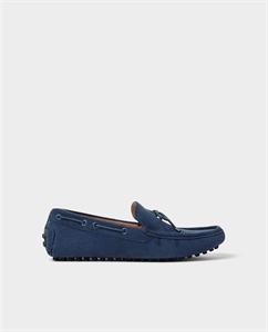 BLUE LEATHER DRIVING MOCCASINS