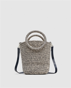 MINI BRAIDED TOTE BAG WITH ROUND HANDLES