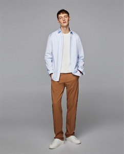 STRIPED SHIRT WITH CONTRASTING RIBBED TRIMS
