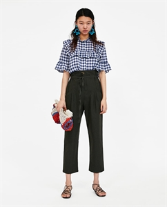 GINGHAM BLOUSE WITH RUFFLES