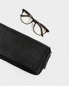 BLACK OVERSIZED WALLET WITH REPTILE EMBOSSING
