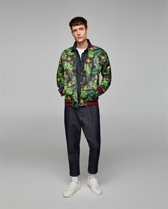 PRINTED BOMBER JACKET WITH CONTRASTING RIBBED TRIMS