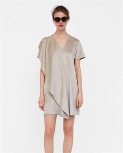 FAUX SUEDE RUFFLED DRESS