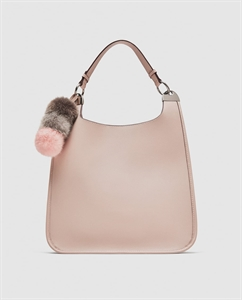 BUCKET BAG WITH POMPOM PENDANT