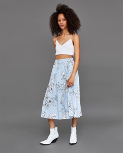 STRIPED AND FLORAL PRINT MIDI SKIRT
